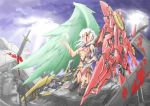 asymmetrical_wings blood breasts chicago-x cross feathers green_wings heterochromia highres mecha_musume original red_wings sword torn_clothes weapon wings