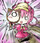 blush_stickers bow chibi dress hat koohee magnifying_glass magnifying_lens pink_hair sherlock_shellingford sibanoue tantei_opera_milky_holmes
