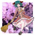 :d animal_ears bamboo_broom broom dress floral_background flower green_eyes green_hair jyuri_otoko kasodani_kyouko open_mouth short_hair smile solo touhou