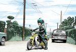 airplane car f-4_phantom_ii gloves hatsune_miku military motor_vehicle motorcycle necktie power_lines rxjx smile sunglasses telephone_pole vehicle vocaloid
