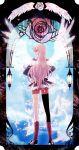 asymmetrical_clothes asymmetrical_clothing bike_shorts blue_eyes epaulettes flower footwear from_behind hands_on_hips highres inenari kawakami_tomoko lantern long_hair pink_hair red_legwear rose shoes shoujo_kakumei_utena socks solo tenjou_utena wings