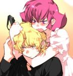 blonde_hair blue_eyes blush casual char_aznable face gundam haman_karn headlock magenta_hair pink_hair purple_eyes quattro_bajeena sketch sunglasses teardrop toujou_sakana violet_eyes wavy_mouth zeta_gundam