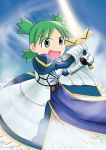 armor child cosplay crossover fate/stay_night fate_(series) green_eyes green_hair koiwai_yotsuba mutsu open_mouth quad_tails saber_(cosplay) short_hair smile solo sword weapon yotsubato!