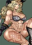 1girl abs amazon_(dragon's_crown) amazon_(dragon's_crown) armlet armor axe bikini bikini_armor blonde_hair boots breasts circlet dragon's_crown dragon's_crown feathers female gloves green_eyes hajime_(block_69) large_breasts long_hair muscle muscular_female panties solo swimsuit tattoo thick_thighs thighs thong underwear vanillaware weapon