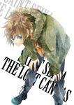 brown_hair casual hanei jacket leo_regulus saint_seiya saint_seiya:_the_lost_canvas short_hair solo title_drop