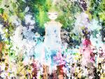 closed_eyes green_hair gumi hinanosuke open_mouth plants smile vocaloid white_dress young
