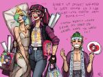 clothes_writing convention dakimakura_(object) emlan fan glasses happy long_hair luna_(my_little_pony) multicolored_hair my_little_pony my_little_pony:_friendship_is_magic my_little_pony_friendship_is_magic otaku paper_fan personification pillow rarity sleeves_rolled_up spike_(my_little_pony) sweat twilight_sparkle two-tone_hair