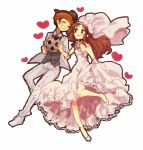 blush bridal_veil bride brown_hair closed_eyes dress endou_mamoru eyes_closed gloves grin heart inazuma_eleven inazuma_eleven_(series) long_hair mkrnsrd raimon_natsumi short_hair smile soccer_ball tuxedo veil wedding_dress