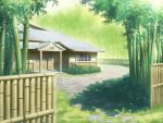 bamboo bamboo_forest bush east_asian_architecture eientei fence forest grass house imperishable_night light nature no_humans plant scenery shadow touhou tree wallpaper window