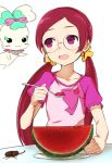 1girl :d beetle chypre_(heartcatch_precure!) dish food fruit glasses hanasaki_tsubomi heartcatch_precure! long_hair minatsuki_randoseru open_mouth precure red_eyes redhead simple_background smile solo spoon table twintails watermelon white_background