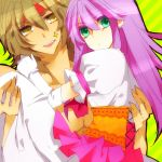 1girl amber_eyes bad_id brown_hair couple gold_eyes golden_eyes green_eyes headband kido_saori long_hair purple_hair sagittarius_aioros saint_seiya yellow_eyes