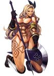 abs amazon_(dragon's_crown) amazon_(dragon's_crown) armlet armor axe bikini bikini_armor blonde_hair boots breasts circlet dragon's_crown dragon's_crown feathers gloves green_eyes highres lips long_hair muscle panties solo swimsuit tattoo thick_thighs thighs thong underwear vanillaware weapon