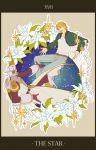blonde_hair blue_eyes blue_jacket bomber_jacket cape dual_persona epaulettes flat_color flat_colors flower helmet highres jacket keith_goodman lilies lily_(flower) male multiple_boys power_suit ramta ramuta short_hair sky_high star superhero tarot tiger_&_bunny