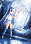 :d bare_shoulders bare_tree blue blue_hair bunny butterfly dutch_angle forest happy headphones highres nature open_mouth original rabbit red_eyes signature sitting smile sunlight tree water