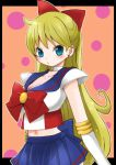 aino_minako bishoujo_senshi_sailor_moon blonde_hair blue_eyes breasts choker cleavage earrings elbow_gloves gloves hair_ribbon jewelry long_hair magical_girl navel ribbon sailor_v sailor_venus sana_(memechi) skirt sleeveless solo