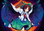 black_wings bow brown_hair cape hair_bow long_hair red_eyes reiuji_utsuho shinia sun touhou weapon wings