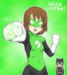 batman batman_(cosplay) batman_(series) blonde_hair bodysuit brown_hair cosplay crossover dc_comics gloves green_lantern green_lantern_(cosplay) hirasawa_yui jewelry k-on! kotobuki_tsumugi long_hair parody pun ring short_hair