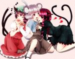 animal_ears biting braid brown_hair cat_ears cat_tail chen closed_eyes finger_biting fingernails geike grey_hair hands heart kaenbyou_rin mouse_ears mouse_tail multiple_girls musical_note nazrin purple_eyes red_eyes red_hair short_hair striped striped_background sweat tail tongue touhou you_gonna_get_raped yuri