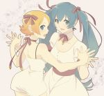 2girls blonde_hair bowtie dress hair_ribbon hatsune_miku hayato_(meromoni) kagamine_rin long_hair multiple_girls open_mouth ribbon short_hair twintails very_long_hair vocaloid