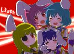 4girls :3 animal_ears armband ayase08 blonde_hair blush bunny_ears closed_eyes eyepatch green_hair multiple_girls pink_hair pun2 purple_hair rabbit_ears red_eyes siesta00 siesta410 siesta45 siesta556 siesta_sisters umineko_no_naku_koro_ni