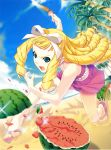 absurdres blonde_hair blue_eyes drill_hair feet food fruit hair_ribbon highres ino kimihagu long_hair open_mouth ribbon sandals watermelon yuuki_emiri
