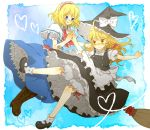 alice_margatroid bad_id blonde_hair bloomers blue_eyes boots braid broom broom_riding buttons dress hairband harukiti hat heart kirisame_marisa mary_janes multiple_girls shoes short_hair socks touhou witch_hat yellow_eyes