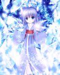 blue_eyes blue_hair blush bow cirno furomaaju_(fromage) hair_bow japanese_clothes kimono short_hair smile touhou wings