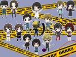 animal_ears bad_id belt black_hair blonde_hair blue_eyes bob_cut bodysuit braid brown_eyes brown_hair cat_ears caution_tape cellphone celty_sturluson chibi cigarette coat durarara!! glasses gym_uniform hair_ribbon hairband hat heiwajima_kasuka heiwajima_shizuo helmet hijiribe_ruri kadota_kyouhei kaneda_(pincc) karisawa_erika kida_masaomi kishitani_shinra knife labcoat motorcycle_helmet open_mouth orihara_izaya orihara_kururi orihara_mairu phone pleated_skirt red_eyes ribbon ryuugamine_mikado scarf school_uniform scythe sign skirt smile sonohara_anri stun_gun sunglasses sword taser thighhighs togusa_saburou twin_braids v vest weapon wink yumasaki_walker