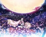 fireflies houraisan_kaguya japanese_clothes long_hair moon night red_eyes tokiame touhou
