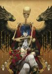 black_wings blue_eyes blue_hair bouquet cantarella_(vocaloid) chair clock coat crossed_legs feathers flower gloves glowing glowing_eyes kaito madarame_(kagetsu) madarame_(pixiv337789) male pale_skin rose short_hair sitting skeleton solo throne vocaloid watch wingks wings wristwatch zipper