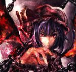 bat_wings blue_hair chain chains hat kuro_kichi red_eyes remilia_scarlet short_hair touhou wings