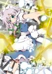 bow braid green_eyes hair_bow izayoi_sakuya knife maid maid_headdress massala pocket_watch short_hair silver_hair solo touhou twin_braids watch weapon