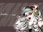 fangs flower glasses green_hair hair_flower hair_ornament miogrobin original red_eyes short_hair solo tiger tiger_ears tongue