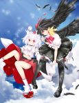bad_id feathers geta hat highres inubashiri_momiji multiple_girls nekokotei shameimaru_aya tengu-geta thigh-highs thighhighs tokin_hat touhou wings
