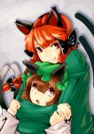2girls animal_ears braid brown_hair cat_ears cat_tail chen dango_ya hair_ornament hair_ribbon hat hug hug_from_behind kaenbyou_rin multiple_girls multiple_tails red_eyes red_hair short_hair smile tail touhou twin_braids twintails