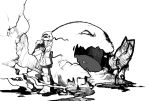 blood boots coat gianoa hat highres hikari_(pokemon) hikari_(pokemon)_(remake) long_hair monochrome muk poke_ball pokemon pokemon_(game) pokemon_dppt pokemon_platinum scarf speed_painting winter_clothes