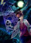 ball brown_eyes brown_hair cloud clouds endou_mamoru headband inazuma_eleven inazuma_eleven_(series) inazuma_eleven_go jacket komkomx male moon night short_hair soccer_ball solo star tower