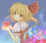 blonde_hair blush bunchou_(bunchou3103) flandre_scarlet hair_ribbon heart holding red_eyes ribbon shirt side_ponytail skirt skirt_set sky slit_pupils smile solo star star_(sky) the_embodiment_of_scarlet_devil touhou turning wings