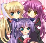 bad_id blonde_hair blue_eyes cat fangs futaki_kanata heart highres little_busters! long_hair multiple_girls purple_hair sasasegawa_sasami school_uniform side_ponytail tokido_saya twintails yellow_eyes yukino_kureyon