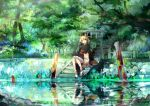 blonde_hair chinese_zodiac dog dog_ears hair_ornament hair_tubes highres japanese_clothes kimono obi open_mouth original pond reflection river shide sitting solo stairs stream tabi tree ume_(plumblossom) water yellow_eyes