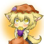 aki_minoriko animal_ears blonde_hair blush cat_ears cat_tail chibi eating fang food fruit grapes hat holding holding_fruit kemonomimi_mode long_sleeves rebecca_(keinelove) rebecca_(naononakukoroni) shirt sitting skirt solo sweet_potato tail touhou yellow_eyes