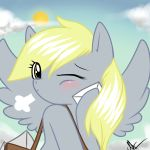 blonde_hair blush derpy_hooves ditzy_doo envelope letter my_little_pony:_friendship_is_magic sky wings wink