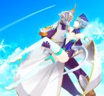 blue_eyes blue_hair blue_rose_(tiger_&_bunny) boots breasts carrying cleavage earrings elbow_gloves epaulettes flying gloves hat helmet high_heels jewelry karina_lyle keith_goodman leg_lift legs lipstick long_legs makeup male nanako_m power_suit princess_carry shoes short_hair sky sky_high snowflakes superhero thigh-highs thigh_boots thighhighs thighs tiger_&_bunny white_legwear