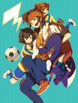 adult ball blue_eyes blue_hair brown_eyes brown_hair closed_eyes endou_mamoru eyes_closed headband holding inazuma_eleven inazuma_eleven_(series) inazuma_eleven_go jacket matsukaze_tenma multiple_boys open_mouth shindou_takuto shoes short_hair sneakers soccer_ball soccer_uniform tsurugi_kyousuke upside-down yui_ko