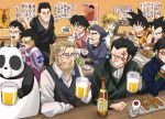 12boys beer black_hair bleach blonde_hair blue_eyes chopsticks closed_eyes crossover dragon_ball dragon_ball_z dragon_quest dragon_quest_dai_no_daibouken dragonball dragonball_z eating everyone eyes_closed facial_hair father food forehead_protector fullmetal_alchemist gegege_no_kitarou gendou_pose gintama glasses gloves hands_clasped ikari_gendou izakaya ksfactory kurosaki_isshin kusakabe_tatsuo male medama_oyaji monkey_d_dragon muscle mustache namikaze_minato naruto neon_genesis_evangelion no_eyebrows one_piece open_mouth panda ponytail ranma_1/2 saotome_genma scar short_hair shounen_jump skirt smile son_gokuu spiked_hair tonari_no_totoro van_hohenheim vegeta