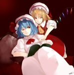bat_wings blonde_hair blue_hair book dress flandre_scarlet hat multiple_girls nobusnow red_eyes remilia_scarlet short_hair siblings sisters sitting smile squinting touhou uneven_eyes wings wink