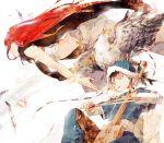 bandage bird black_hair bow_(instrument) eagle feathers hat instrument long_hair morin_khuur red_hair redhead shut_hell shut_hell_(character) yaralt yellow_eyes yubari yurul