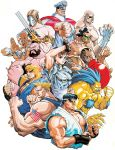 6+boys 90s artist_request balrog blanka capcom chun-li dhalsim edmond_honda everyone fighting_stance guile highres ken_masters m_bison multiple_boys muscle nishimura_kinu official_art ryuu_(street_fighter) sagat street_fighter street_fighter_ii vega zangief