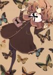 bag black_legwear brown_hair butterfly copyright_request highres itou_noiji long_sleeves nail_polish pantyhose purse solo