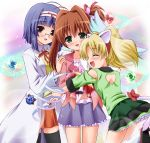 :d animal_ears black_legwear blonde_hair blue_hair cat_ears cat_tail chisato_(missing_park) closed_eyes detached_sleeves eyes_closed green_eyes hand_on_shoulder jewelpet_(series) jewelpet_tinkle labcoat miria_marigold_mackenzie multiple_girls open_mouth red_eyes sakura_akari sara_(jewelpet) sara_(jewelpet_tinkle) side_ponytail skirt smile sparkle tail thigh-highs thighhighs twintails zettai_ryouiki